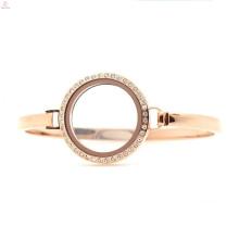 "Fashion stainless steel crystal rose gold 30mm 7""-8"" floating screw glass charm womens locket bangle bracelet"