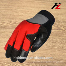 Guantes rojos dobles de la palma de China, guantes protectores de la mano de la herramienta