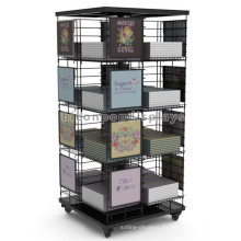 Movable Stationery Retail Store Book Display Rack Free Standing, Stationery Comic Book Display Rack