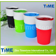 Plastic Lid Ceramic Coffee Mug Without Handle