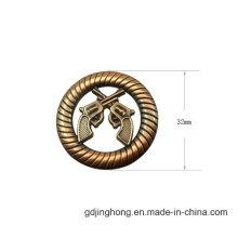 Gun Logo Customized Round Shape Metal Tag Logo Metal Plated