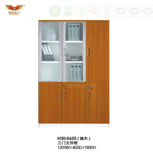 Modern Wooden Board Filing Cabinet with Two Glass Doors (H30-0635)