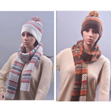 Winter Warm Snow Printing Scarf Beanie Set Knitted Scarf (SK181S)