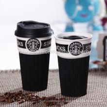 Caneca de café do starbucks da porcelana com silicone, caneca da cidade do starbuck