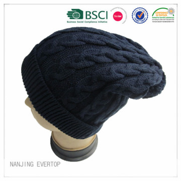 Cable Knitting Long Beanie