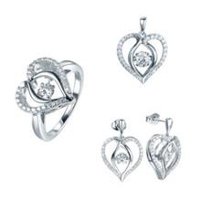 Conjunto de jóias com coração de moda Prata esterlina 925