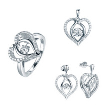 Мода Heart Jewelry Set 925 Sterling Silver