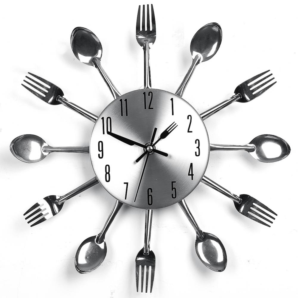 Wall Clock Cutlery Kitchen Fork Knife