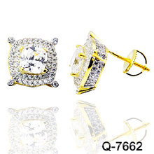 New Design 925 Silver Fashion Jewellery Micro Pave Ear Studs (Q-7662)