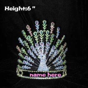 Coronas de pavo real personalizadas de 6 pulgadas de altura con diamantes de imitación azulverdes
