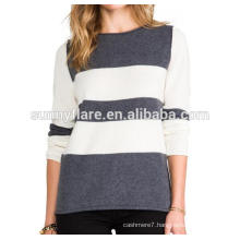 High Quality Roll Neck Women 100% Cashmere Sweater With Strip