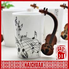 Музыкальная кружка с крышкой и ручкой музыкальных символов