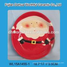 Керамическая рождественская тарелка для детей с дизайном santa claus