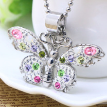 Colorful crystal butterfly girl's pendant