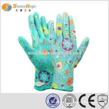 Sunnyhope China fabricante palma Tricô geral nitrilo revestido de nylon glovs