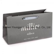 Fashion Grey Large Custom Printed Gift Paper Bag with Ribbon Handles