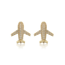 E-725 xuping fashion aircraft shape design 14k gold color zircon paved stud earrings