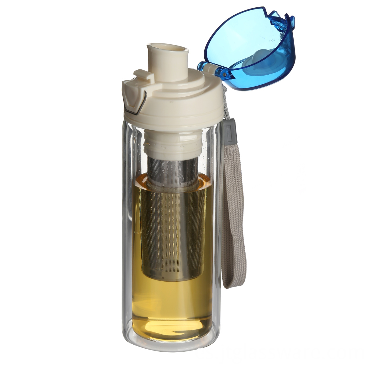 Glass bottle with lid and strainer