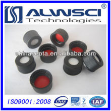 Septo de silicone vermelho ptfe vermelho de 13 mm com tampa superior aberta de parafuso preto montado