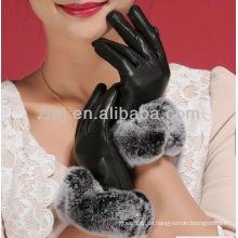Edle Stile Frauen tragen Leder Nerz Handschuh