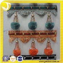 Pompón de pompón de colores para rideaux Cortina borla de franja para el hogar y decoración de textiles
