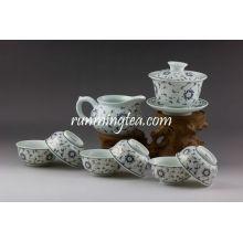 Golden Flower Porcelain Teaware Set, 1 Gaiwan, 1 Pitcher, 6 Cups