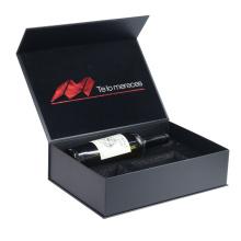 Custom black paper magnetic cardboard wine box wine gift box