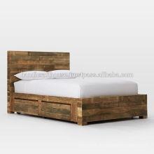 Cama king size de armazenamento em madeira