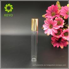 5ml 8ml 10ml 12ml Klarsichtrolle auf Glasflasche mit Metallrollkugel und Aluminium-Goldkappe