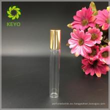5 ml 8 ml 10 ml 12 ml rollo claro en botella de vidrio con bola de rodillo de metal y tapa de oro de aluminio