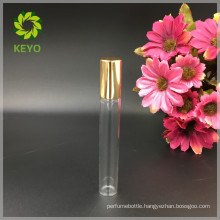 5ml 8ml 10ml 12ml clear roll on glass bottle with metal roller ball and aluminum gold cap