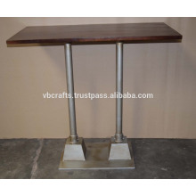 Modern Industrial Loft Bar Table Iron Pipe Base Reclaimed Top
