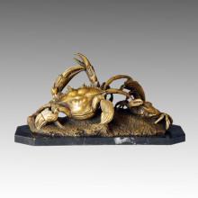 Животная бронзовая скульптура Мать-сын Крабы Крафт-латунная статуя Tpal-037