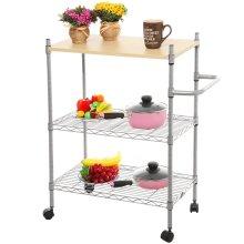 Регулируемая DIY 3 уровня дерева Top металла прокатки кухни хранения корзины тележки