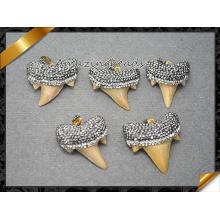 Colgante de diamantes de tiburón genuino, colgante de piedras preciosas de Druzy, colgantes de collar para hombres y joyas de mujer (EF096)
