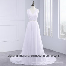 Chiffon Wedding Dress Open Back Sleeveless Floor-Length Sexy Wedding Gown