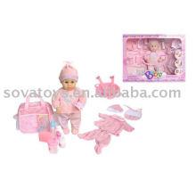 906050230 linda menina boneca de brinquedo do bebê, brinquedo boneca engraçada, B / O 14 polegadas bebê boneca de transporte conjunto