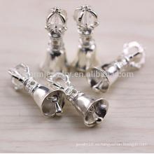 Sef065 hallazgos de la joyería de plata de DIY, tendencia 925 sterling sliver charm Christmas bell & crown & dumbbell for bracelets pendants