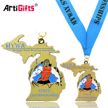 Custom Michigan Youth Wrestling Athletics Medal With Lanyard