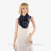 Newest Lady's fashionable polyester voile printed loop scarf round scarf