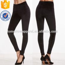 Leggings magro de veludo preto OEM / ODM fabricação atacado moda feminina vestuário (TA7027L)