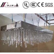 Lustre en cristal clair de luxe de projet de lampe de projet accrochant de haute qualité