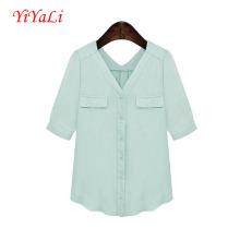 Mulheres moda V pescoço do Chiffon manga curta camiseta