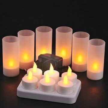 rechargeable LED tealight candles with holder