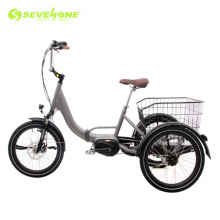 Aluminum Frame 3 Wheels MID Motor Electric Tricycle