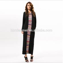 Alta calidad de moda de verano manga larga Impreso Rayón piso longitud vestidos formales mujeres