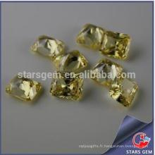 Rectangle Forme Lumière Jaune Princess Cut Zirconia cubique de haute qualité