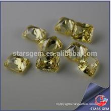 Rectangle Shape Light Yellow Princess Cut High Quality Cubic Zirconia