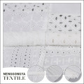 Eco-friendly accept custom white cotton eyelet embroidery fabric