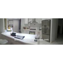 Imagem real da Austrália cliente branco alto brilho 2 pac laca armário de cozinha moderno
